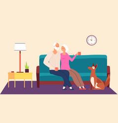 elderly couple hygge family evening vector image