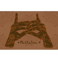 Element yoga Stairway Heaven Temple mudra hands vector