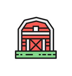 farm barn greenhouse countryside color line icon vector image