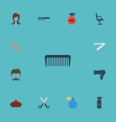 Flat icons comb hairbrush blow-dryer and other vector