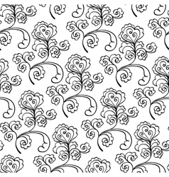 floral decorative black and white pattern vector image vector image