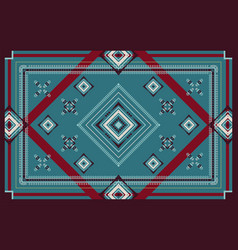Geometric ornament red green beige and cream vector