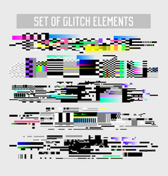 Glitch effect elements set tv distortion noise vector