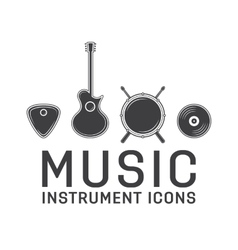 Gray music instrument icons collection vector