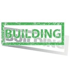Green outlined BUILDING stamp vector