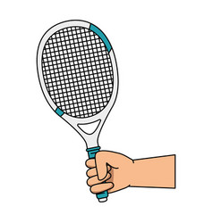 hand human with tennis racket vector image