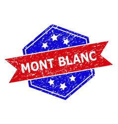 Hexagon bicolor mont blanc watermark with rubber vector