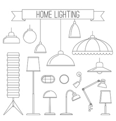 Home lamps thin line icons vector
