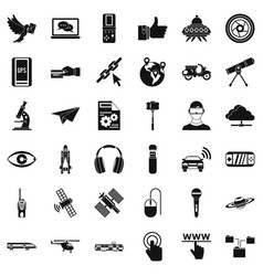 internet technology icons set simple style vector image