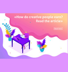 Isometric article banner freelance vector