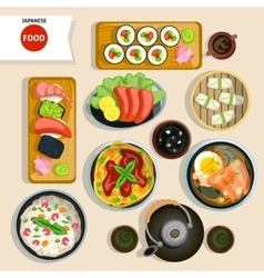 Japanese Food Top View Set vector image