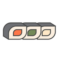 Japanese sushi roll icon vector