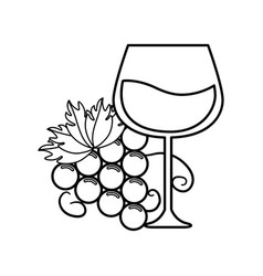 Line glass of wine with grape icon vector