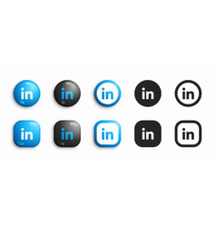 Linkedin modern 3d and flat icons set vector