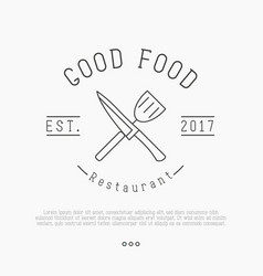 Logo for cafe or restaurant with knife vector