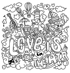 Love is in air hand drawn hand drawn vector