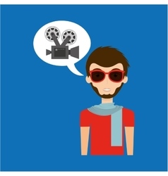 Man hipster concept movie cinema camera icon vector