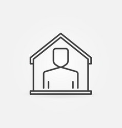 Man in house line icon - stay home concept vector