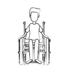 Man in wheelchair care disabled patient health vector