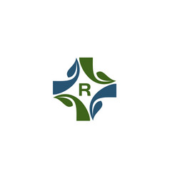 medical herbal initial r vector image