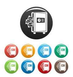 metal safe icons set color vector image