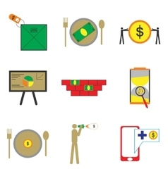 Modern collection flat icons economic on white vector