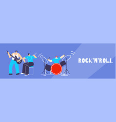 musician band people doing rock-n-roll flat banner vector image