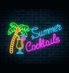 Neon summer cocktails bar sign glowing gas vector