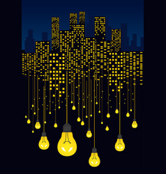 Night city and light bulbs hanging on wires vector