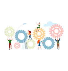 Office workers tiny people adjust gears vector