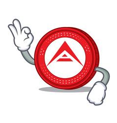 Okay ark coin character cartoon vector