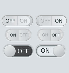 On and off toggle switch buttons black and white vector