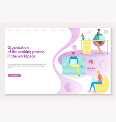 organization of working process in workplace vector image