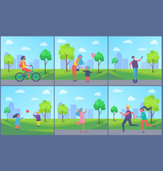 People playing and resting in park cartoon banner vector