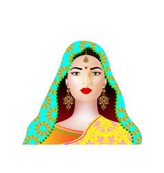 Portrait beautiful indian girl young hindu vector