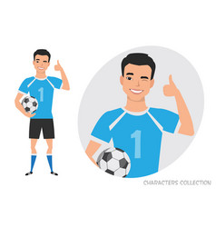 Positive asian soccer player smiling and vector