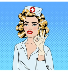 Pretty Nurse in Pop Art Style Gesturing Okay vector image