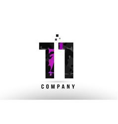 Purple black number 11 logo design suitable vector