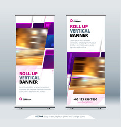 purple business roll up banner abstract roll up vector image