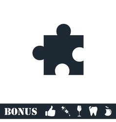 Puzzle piece icon flat vector image