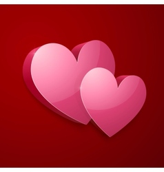 Realistic bright pink valentines hearts vector