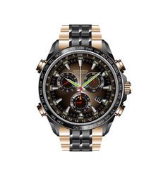 Realistic clock watch chronograph black copper vector