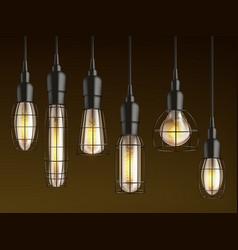 retro incandescent lamps with lattice set vector image