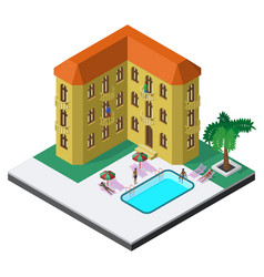 scene of summer rest in isometric view with hotel vector image