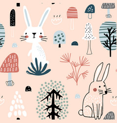 seamless woodland pattern with cute rabbits vector image