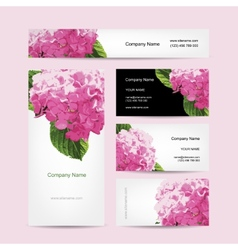 Set of business cards design with hydrangea flower vector
