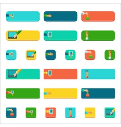 Set of flat buttons with people paying concepts vector image