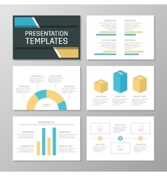 Set of orange and blue template for multipurpose vector image