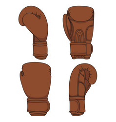 set of with brown boxing gloves vector image
