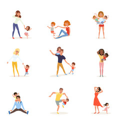 set tired parents with children exhausted moms vector image